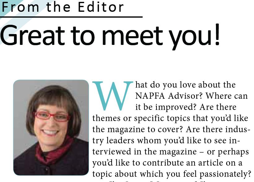 Susan Weiner, editor, NAPFA Advisor