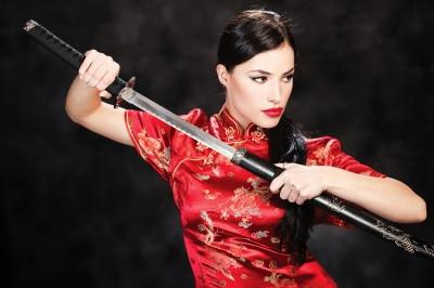 """Woman Holding Katana Weapon"" by marin"