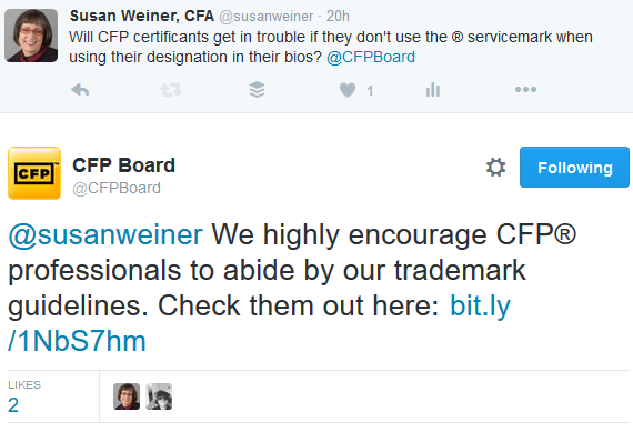 CFP Board on using R with CFP designation