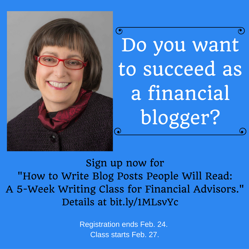 Financial Blogging class registration ends Feb. 24, 2017.