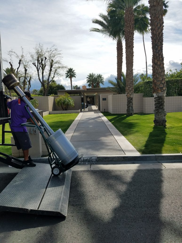 I saw no garish colors as I peeked in the back entrance to Frank Sinatra's house