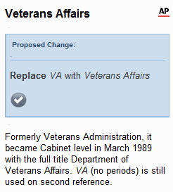 AP style thinks that VA is short for the Veterans Affairs, not a variable annuity
