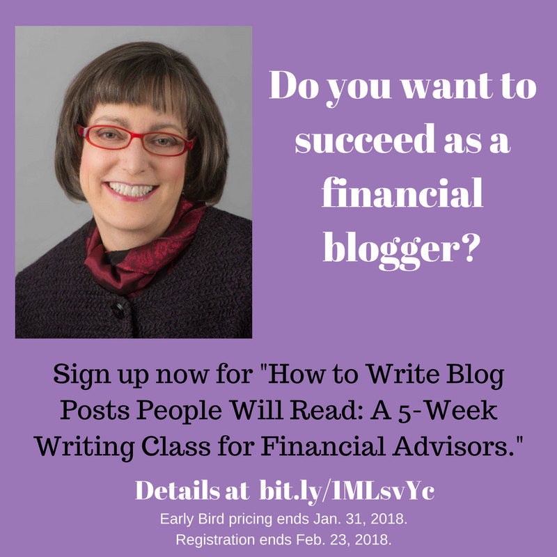 Early Bird registration for financial blogging class