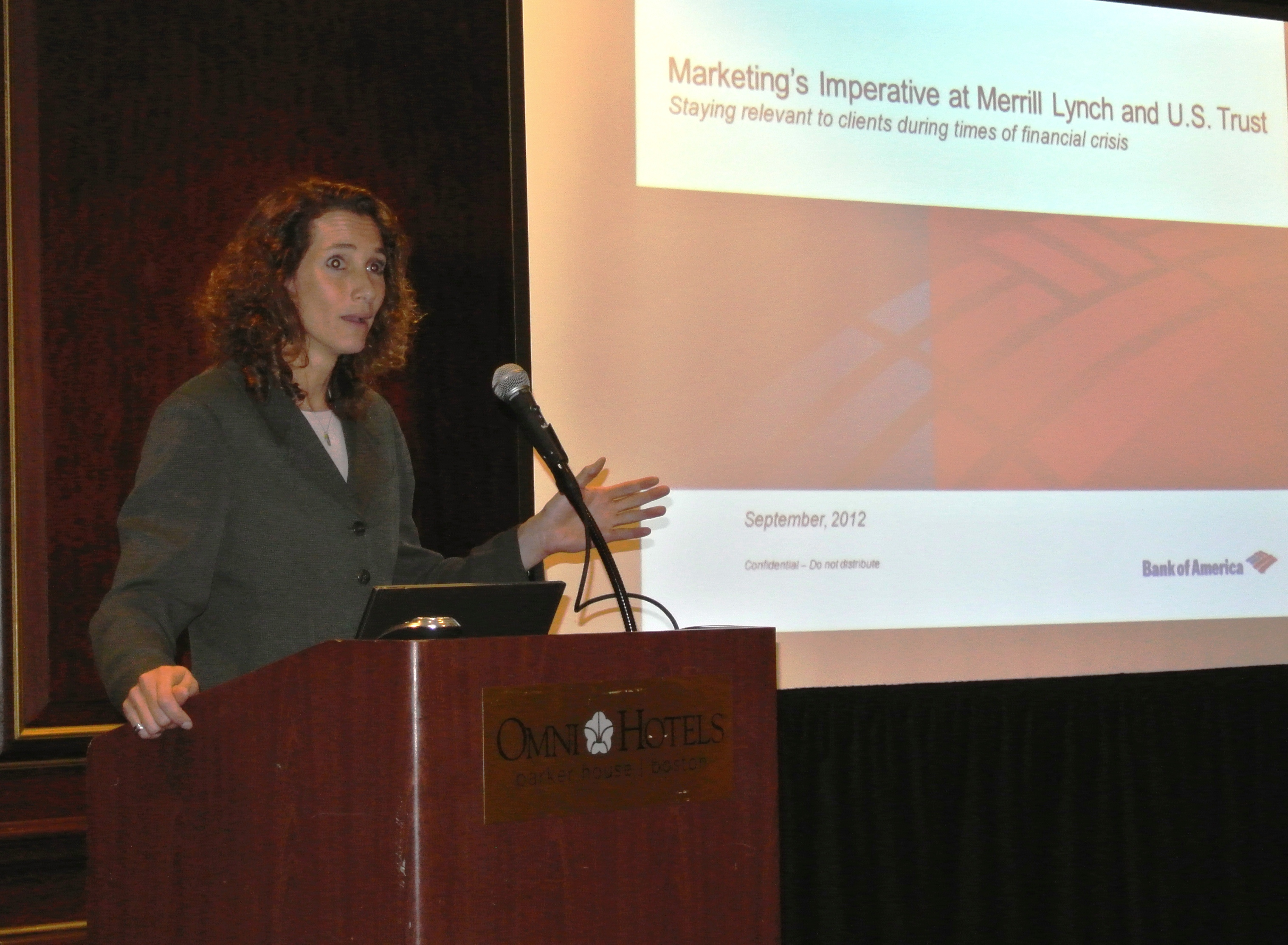 Justine Metz presenting On Merrill Lynch and US Trust to Financial Communications Society