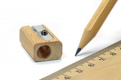 ruler, pencil, sharpener