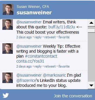 @susanweiner Twitter widget