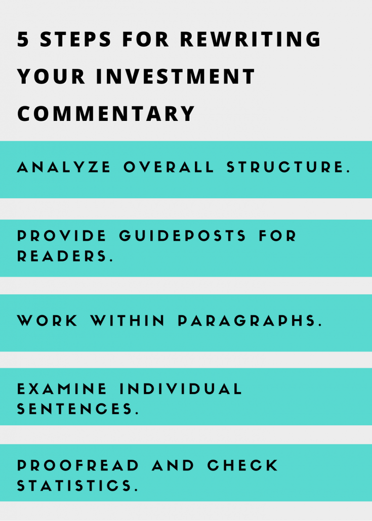 5 steps for rewriting your investment commentary inforgraphic