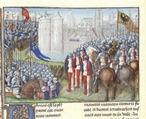 Chronique d'Ernoul et de Bernard le Trésorier - caption: 'Crusaders besieging Damascus'