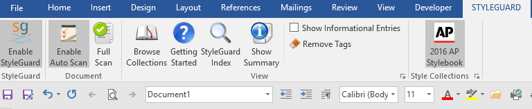 AP StyleGuard in Microsoft Word ribbon