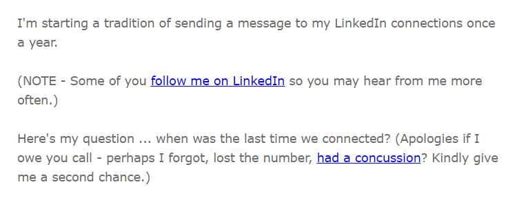 annual LinkedIn email
