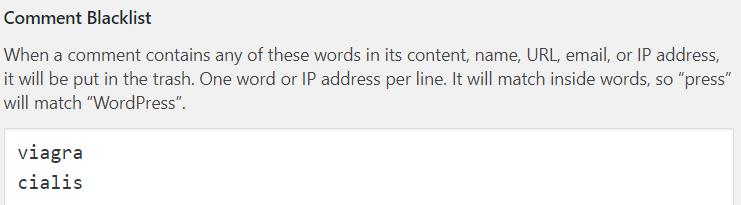 WordPress spam comment blacklist